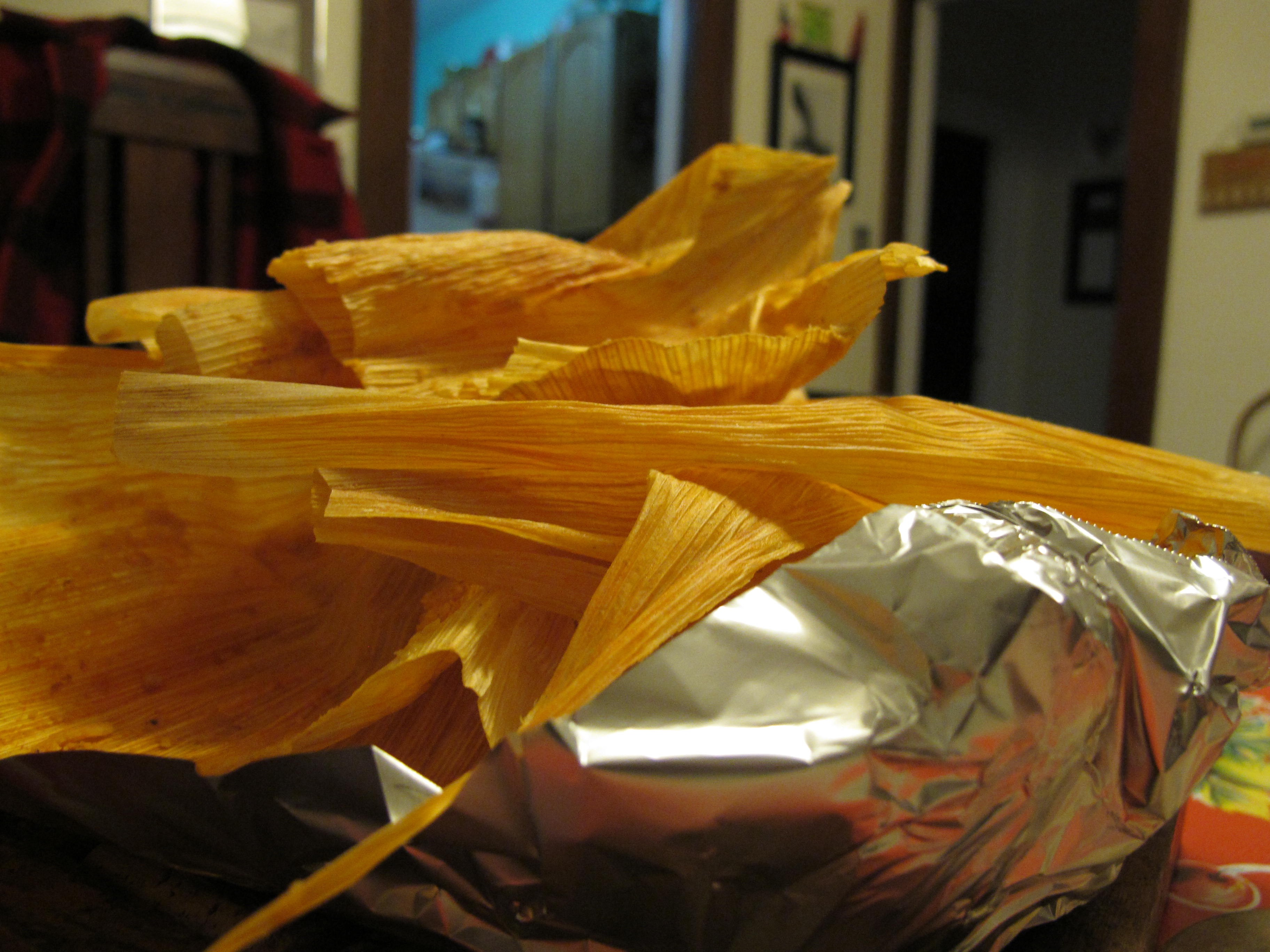Close-up of corn husks used to wrap tamales.
